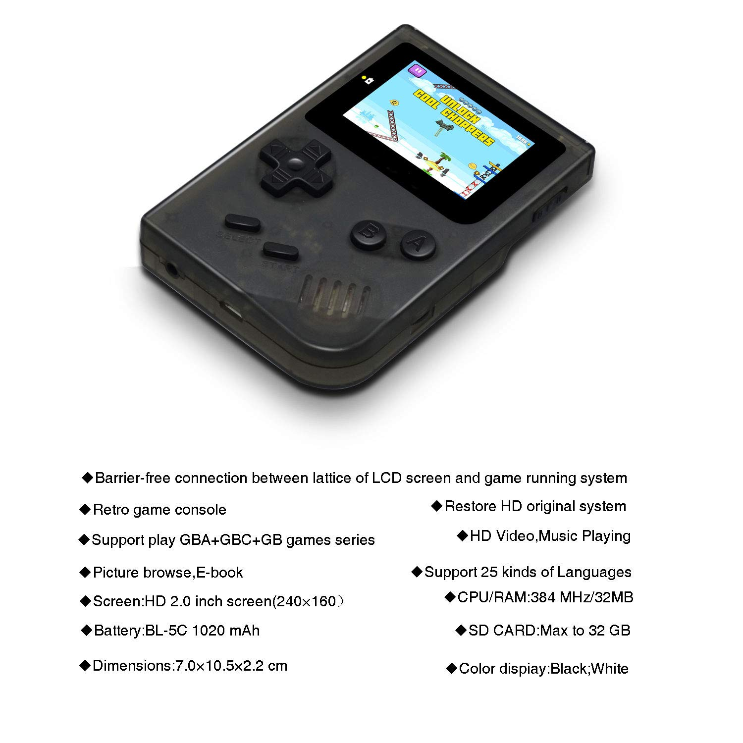 MJKJ Handheld Game Console , Retro Game Console 2 Inch HD Screen 548 Classic GBA Games , Birthday Presents for Children - Transparent Black by MJKJ (Image #5)