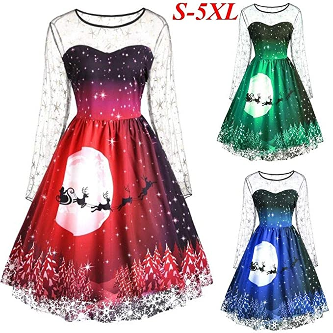 1a83a412be7 Overdose Women Christmas Dress Long Sleeve Printed Party Dress   Amazon.co.uk  Clothing
