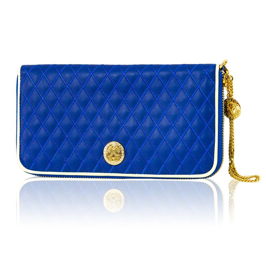 Valentino Orlandi Italian Designer Maldives Blue Quilted Leather Ziparound Wallet Clutch