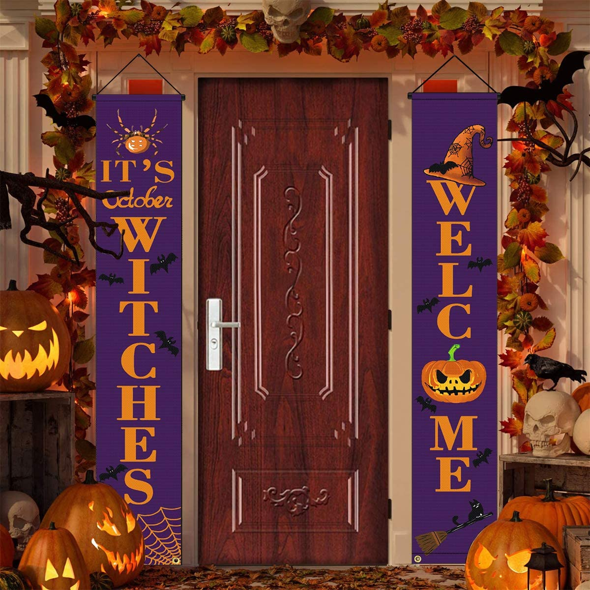 Evoio Halloween Decorations Witches Large Banner, Hanging Porch Signs for Outdoor Indoor, Front Door Welcome Decor with Witches Hat Pumpkin Spider Cat Bat Pattern for Holiday Home Yard Party(Purple)