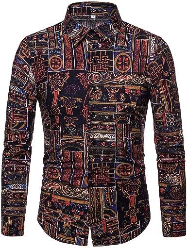 Manga Larga Hombre, Beladla Camisa De Blusa Estampada para Hombre OtoñO Invierno Blusa De ImpresióN La Solapa Tops De Slim Fit Casual MúLtiples Estilos: Amazon.es: Ropa y accesorios