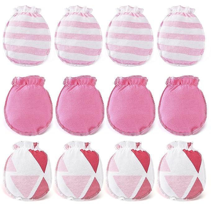Pink Apparel 3 Pairs Newborn Baby Mittens Infant No Scratch Cotton Mittens