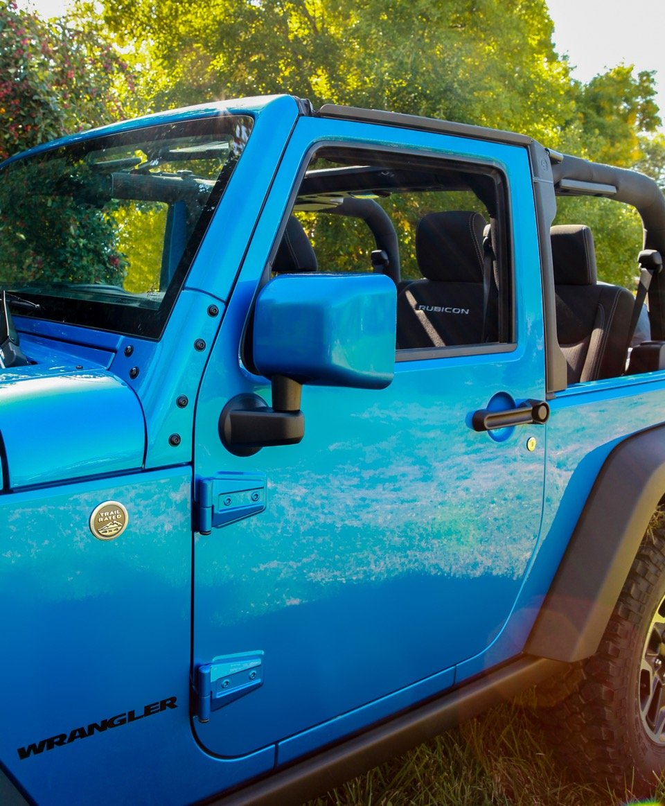 - Flame Red for Jeep JK Wrangler Painted-to-Match 1 Pair Boomerang - Driver /& Passenger Side Mirrors ColorPro Mirror Caps 2007-2018