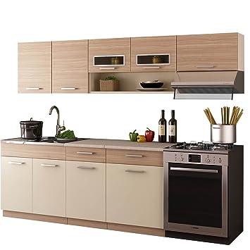 Küche moreno 240 cm mit spühlbecken küchenzeile küchenblock 6 schrank
