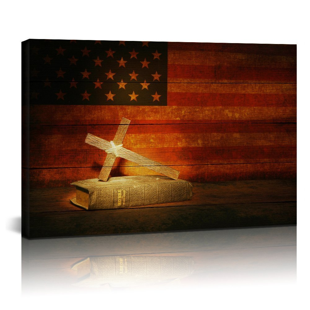 Sea Charm Canvas Prints Wall Art Christian Cross Holy Bible in Vintage American Flag Poster Home Decoration Stretched Gallery Canvas Wrap Artwork Ready to Hang (24x36inches)