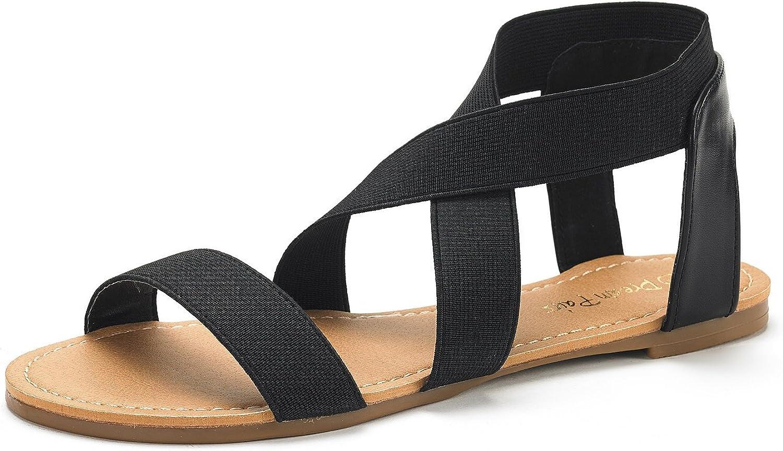 DREAM PAIRS Women's Elatica Elastic Flat Max 88% OFF Topics on TV Ankle Sandals Strap