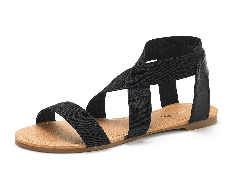 DREAM PAIRS Women's Elatica-6 Black Elastic Ankle Strap Flat Sandals - 7 M US