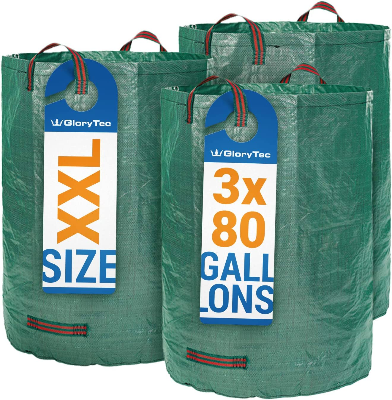 Glorytec 3-Pack 80 Gallons Garden Bag - Extra Large Reusable Leaf Bags - Garden Waste Bags - Collapsible Gardening Containers for Lawn and Yard Waste ...