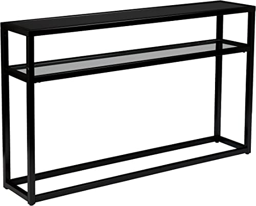 Baldrick Glass Media Console Table – Space Saving w Slim Profile – 2 Tier