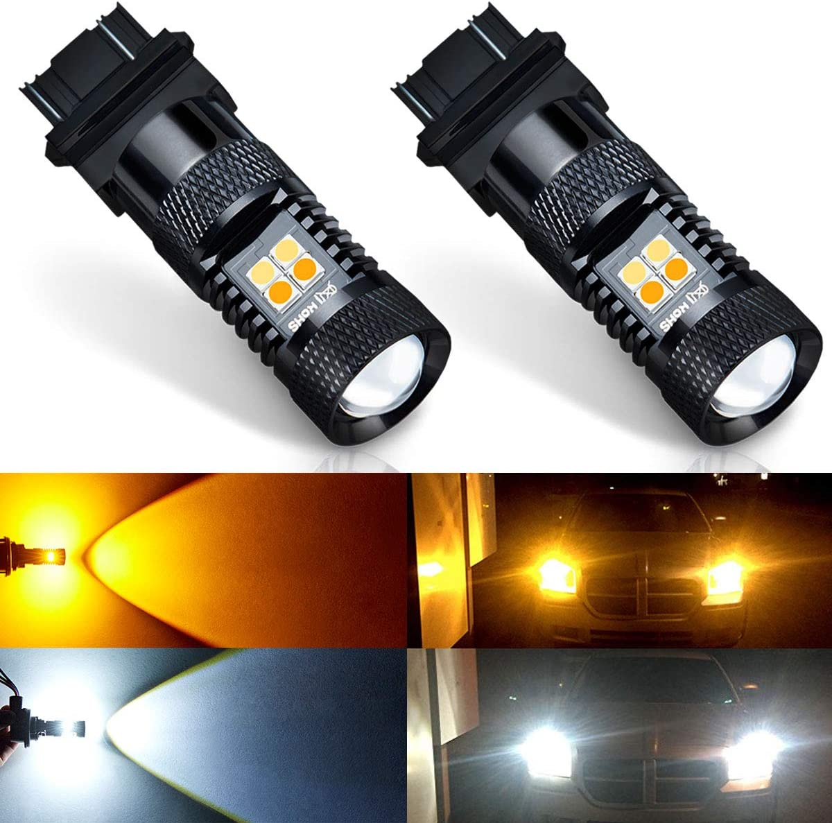 Pack of 2 AUXITO White and Amber Dual Color Switchback 3157 3155 3457 4157 LED Bulbs with Projector 3030 Chipsets for Car Turn Signal Lights Parking Lights,