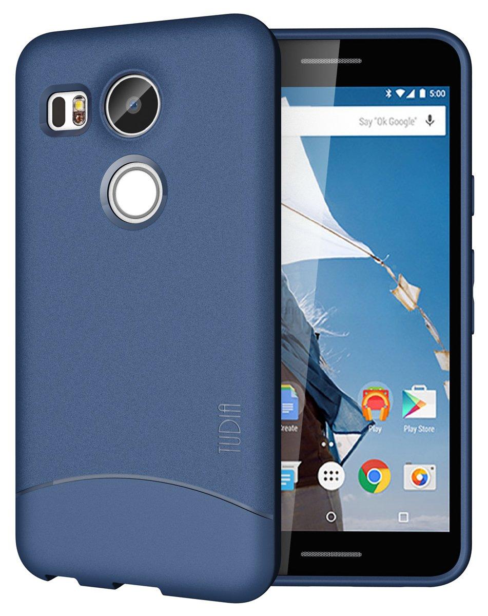 TUDIA Nexus 5X (2015) Funda, Ultra Delgado Mate Completa Arch TPU Caso de Parachoques de protección Funda Carcasas para Google Nexus 5X (2015) (Azul)