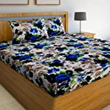 Super India Printed 130 TC Polycotton Double Bedsheet with 2 Pillow Covers - Blue
