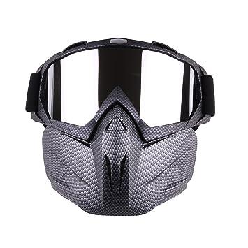 Mecotech Mascara Airsoft, Ajustable Máscara Facial Táctica Mask Con Protector Gafas para Nerf, Moto