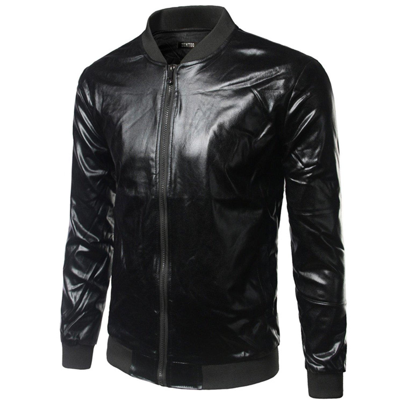 Tammy Lynch Silver Bomber Jacket Men Collar Shiny Night Club Baseball Jacket Men Casual Slim Fit Mens Jacket Coats at Amazon Mens Clothing store: