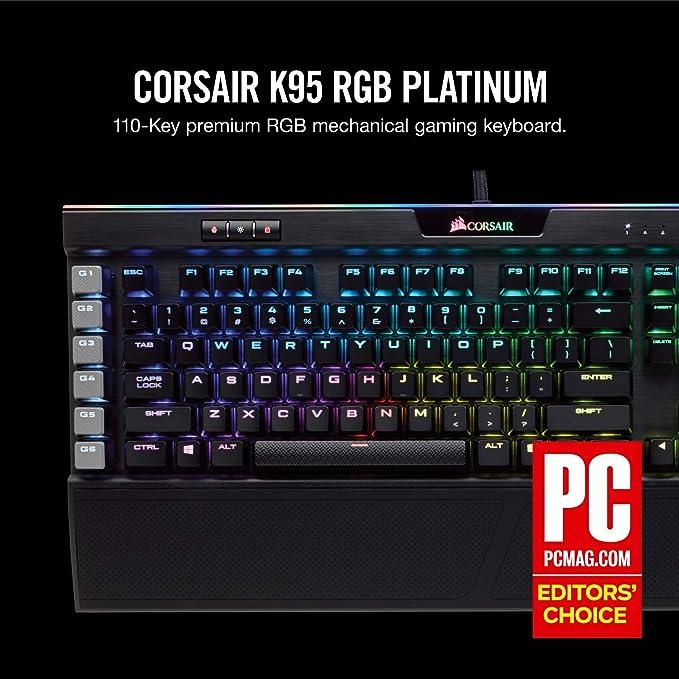 CORSAIR K95 RGB PLATINUM Mechanical Gaming Keyboard - 6x Programmable Macro  Keys - USB Passthrough & Media Controls - Fastest Cherry MX Speed - RGB