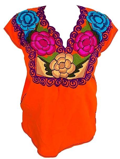 Amazon.com: Casa Fiesta diseños florales mexicano blusa ...