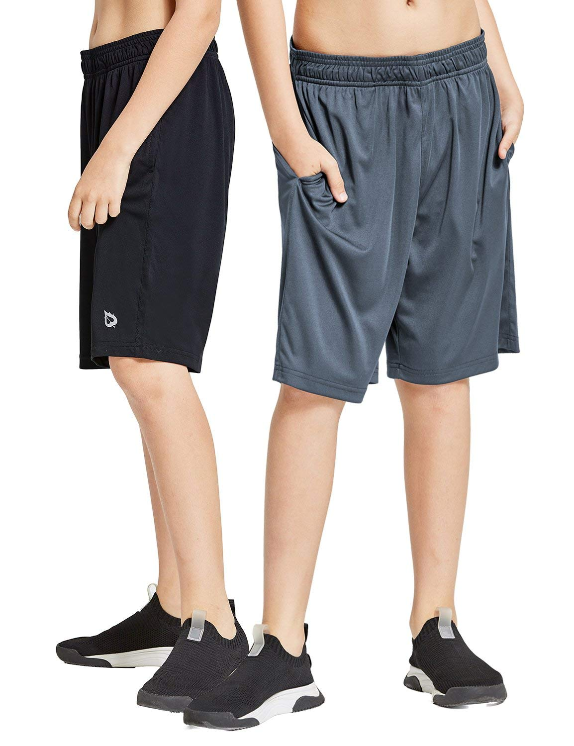 Baleaf Youth Boys' Athletic Running Shorts Pockets Tennis Volleyball Shorts Pack of 2 Black/Gray Size S by Baleaf