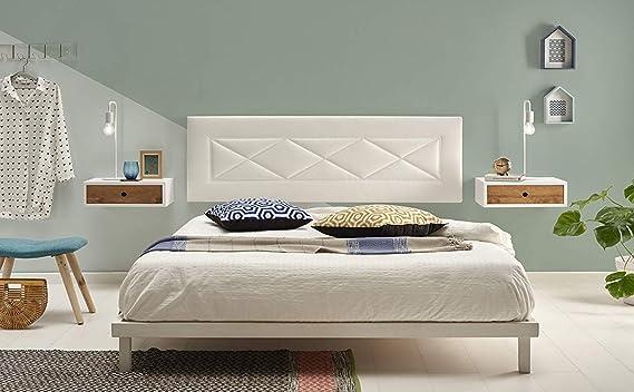 HOGAR24 R55-105 cm- Cabecero Tapizado, Válido para Cama 90-105 cm, Color Blanco