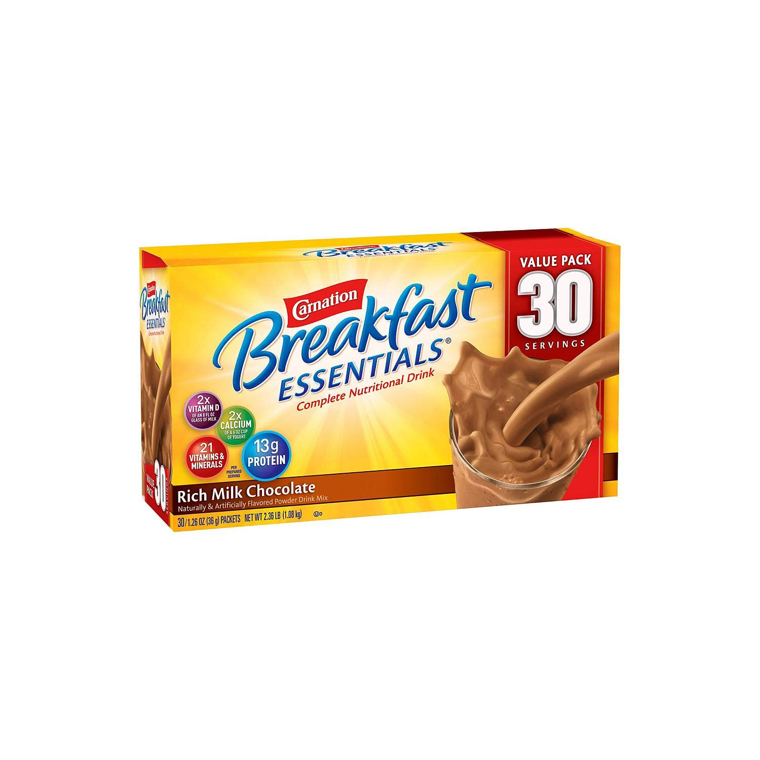 Carnation Breakfast Essentials Complete Nutritional Drink Rich Milk Chocolate - 30 Servings 2.36 LB