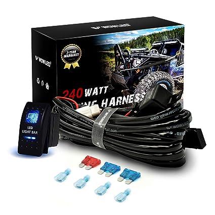 Relay Fuse Wiring Kit SUV 4WD Waterproof LED Illuminated Backlit Rocker Switch