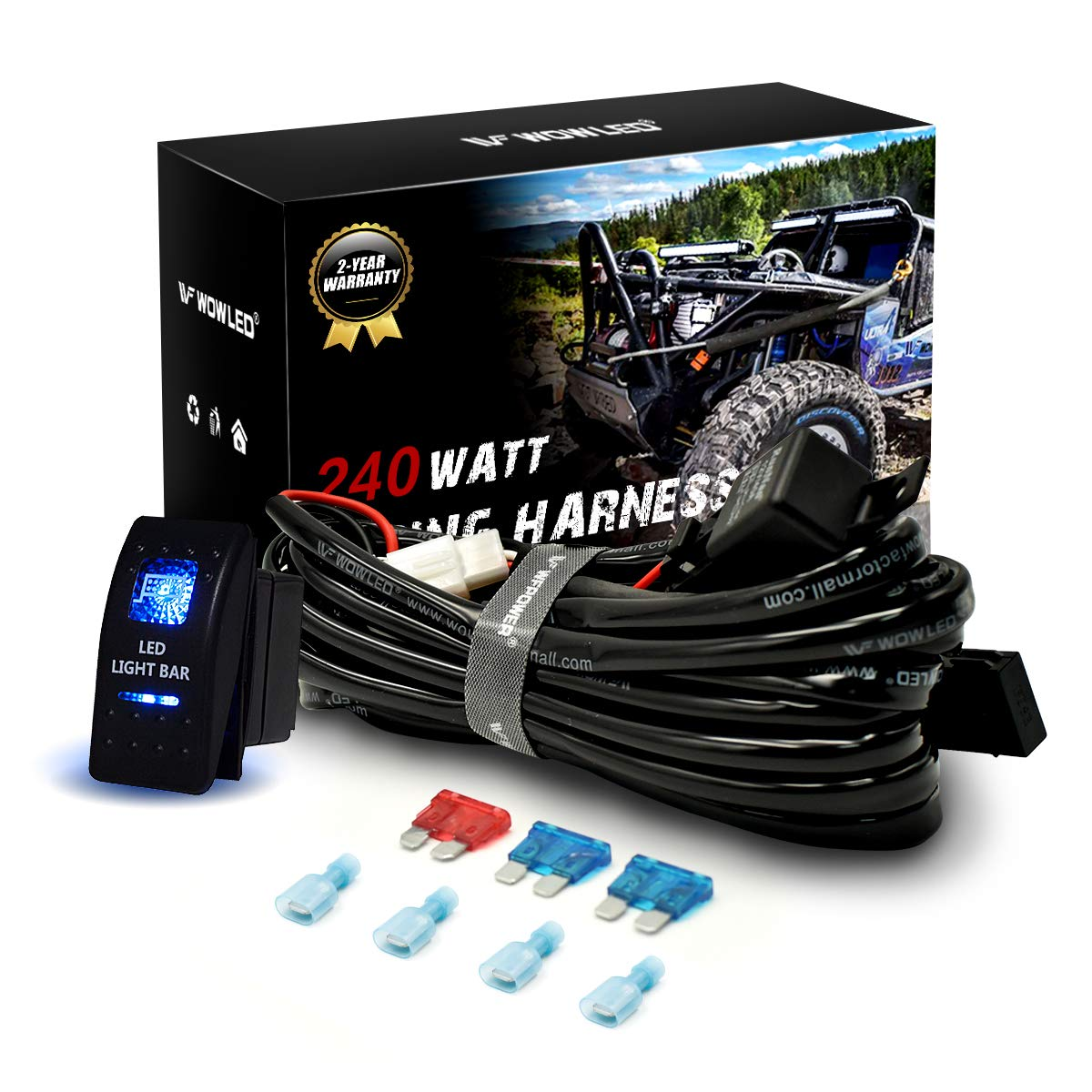 WOWLED High-end Wiring Harness Kit, LED Light Bar Wiring Harness Kit for Off Road Lights LED Light Bar with 12V 40A Relay On Off Switch(2 Lead)