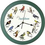 """Audubon Singing Bird Clock - 13"""" Green"""