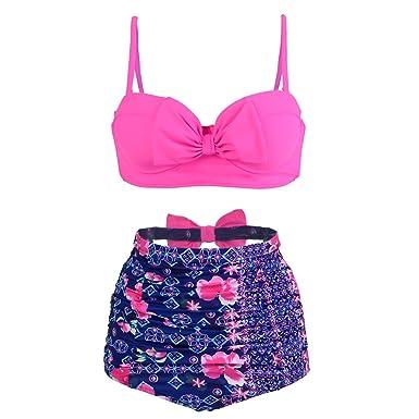 1326394007 BuyBai Vintage Bow Women's Bikini Set Bathing Suit Floral Printed Strappy  High Waist Swimsuit