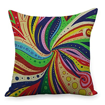 "WholesaleSarong Trippy Psychedelic Cushion Cover Patio Furniture Cushion Covers 18"" Square: Home & Kitchen"