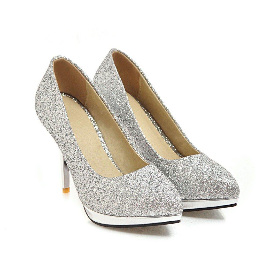 QIN&X Schuhe Damen Stiletto High Heels Schuhe QIN&X Flache Mund Schuhe Silver e5314e