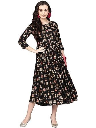 6edf063838 Varanga Black gold printed flared Dress  Amazon.in  Clothing ...