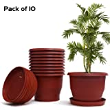 Livzing Flower Pot with Bottom Tray Set - Home Garden Office Plant Pot Balcony Flowering Planter (12-Inch, Brown, Pack of 10)