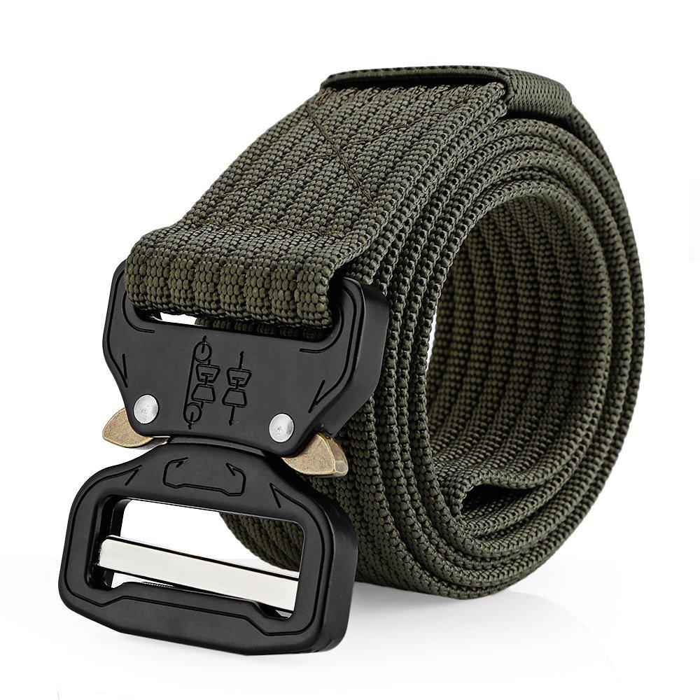 Tactical Belt Military Buckle, 1.5'' Heavy Duty Waist Belt, Nylon Webbing Waist Belt with Quick-Release Buckle,Wear-resisting Non-slip Breathable Waist Belt,Army Green