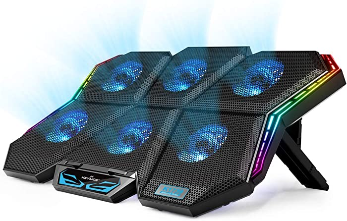 Laptop Cooling Pad, KEYNICE Gaming Notebook Cooler for Up to 17 Inch Laptop, 6 Fans with Blue Light, 7 Heights Adjustment, 2 USB Port and Colorful LED Light, 2020 Newest Laptop Cooling Fan Stand