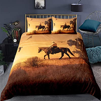 Loussiesd Wild Animals Theme Comforter Cover Set Twin Size Cowboy Riding Horse in The Sunset Décor Bedding Set for Kids Boys Teens Polyester Duvet Cover Set 2pcs (1 Duvet Cover + 1 Pillowcase): Home & Kitchen