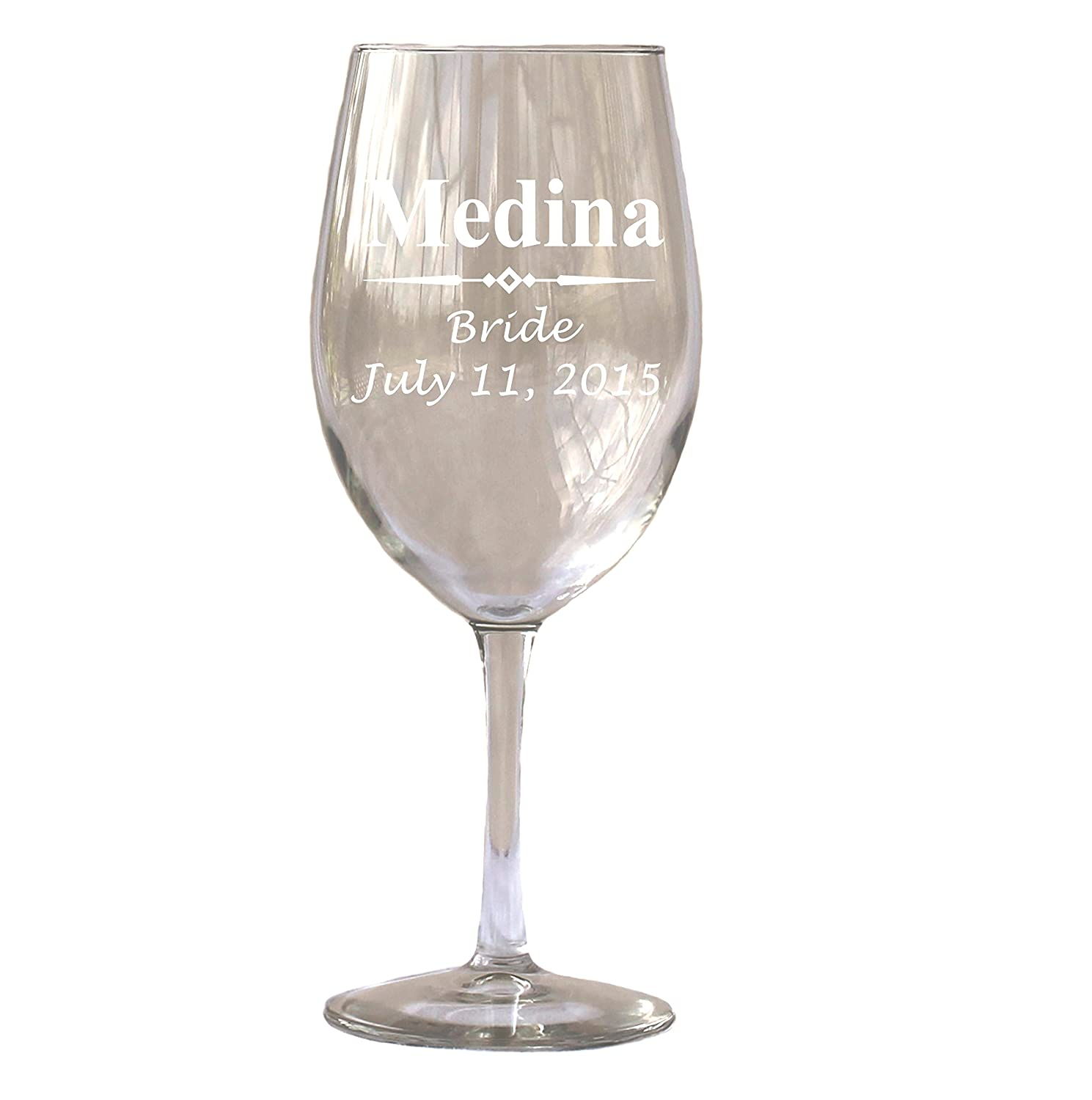 Amazon.com | Personalized White or Red Wine Glass 18 Oz - Wedding ...