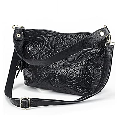 Jiame New Fashion Women s Roses Embossed Soft Leather Handbag Shoulder Bag  Cross Body Bag purse ( 82b20e0e63600
