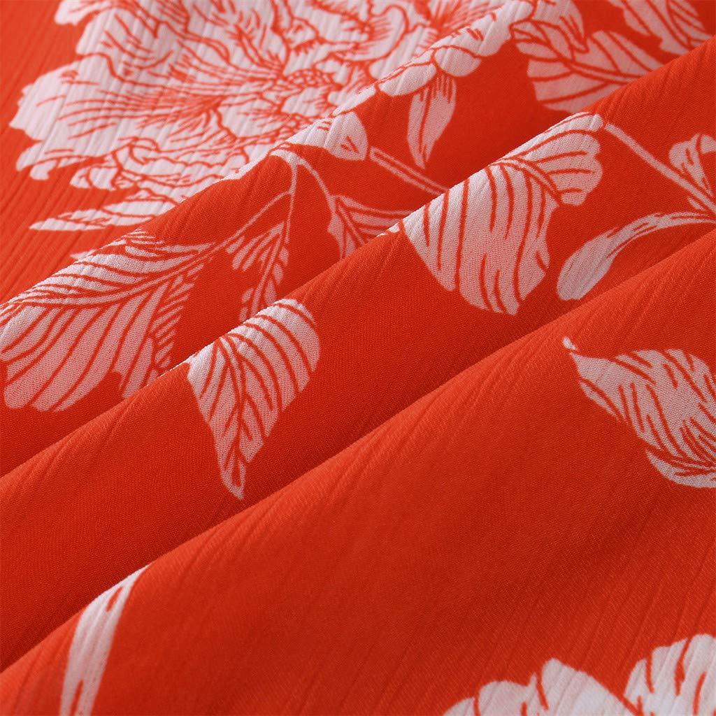 OTINICE Women Sleeveless Halter Strappy Floral Dress Summer Casual Mini Dress Sundress (XL, Z-Orange) by OTINICE (Image #6)