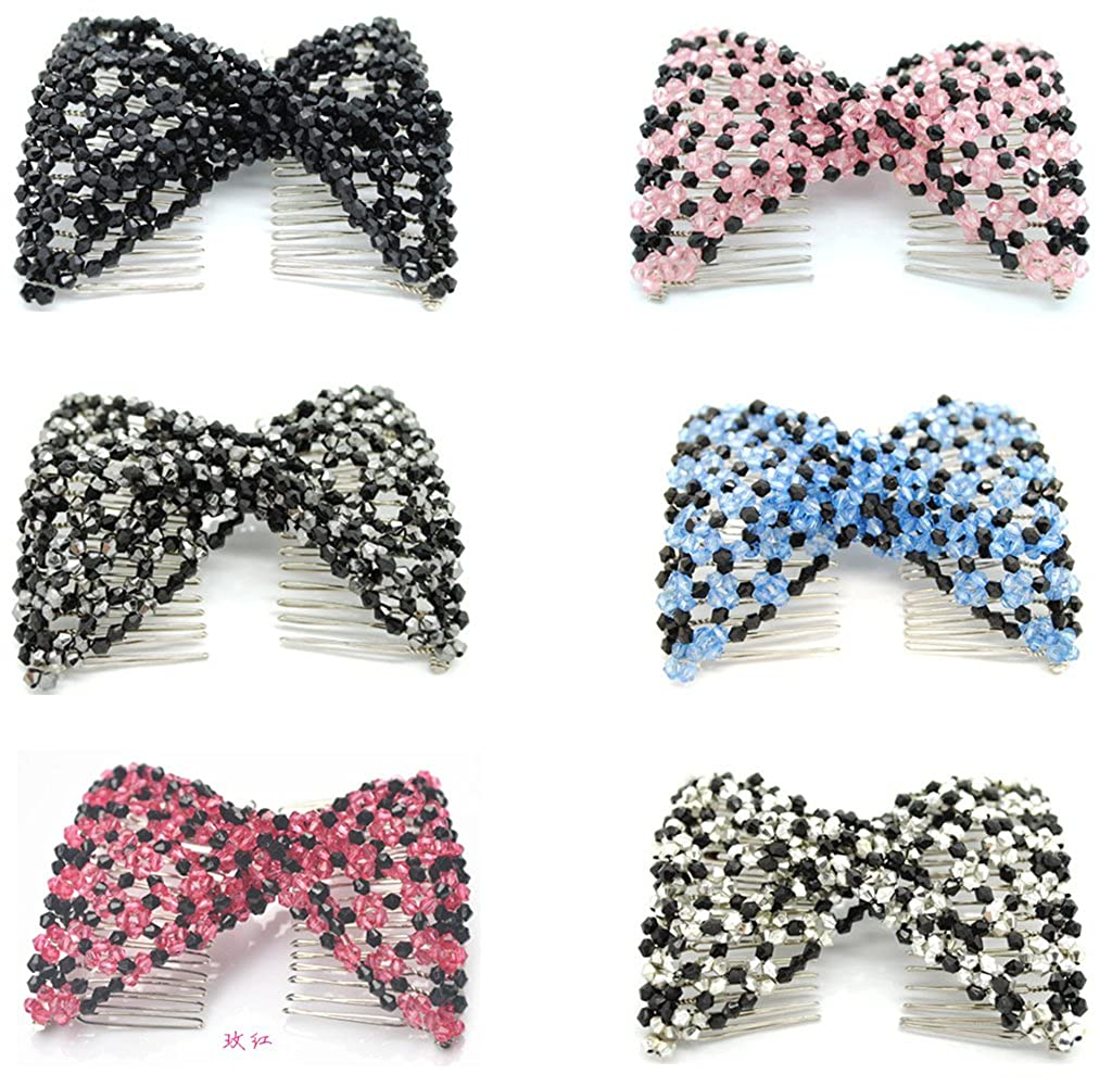 Lovef 3pcs Magic Combs Ez Stretchy Beaded Hair Comb Women Hair Jewelry - Assorted Color 2016