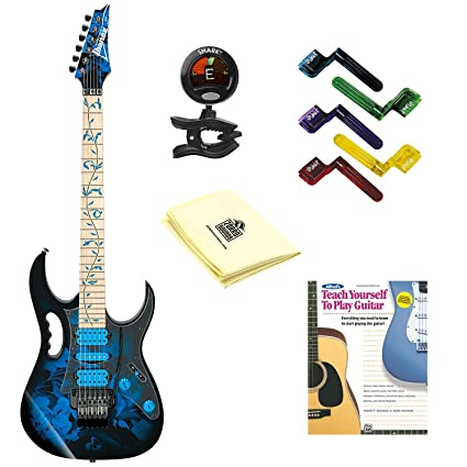 Ibanez jem77p Steve Vai Firma Jem Premium Series Guitarra eléctrica azul flores patrón con gamuza de
