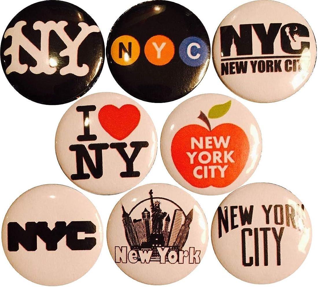 "NYC x 8 New 1"" inch (25mm) pins Buttons Badge New York City I Love Big Apple Manhattan …"