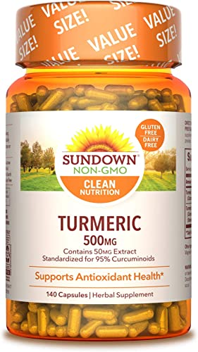 Turmeric Herbal Supplements by Sundown, for Antioxidant Health, Non-GMO , Free of Gluten, Dairy, Artificial Flavors, 500mg, 140 Capsules