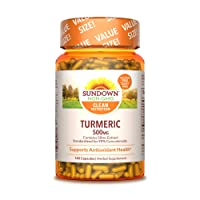 Turmeric Herbal Supplements by Sundown, for Antioxidant Health, Non-GMOˆ, Free of...