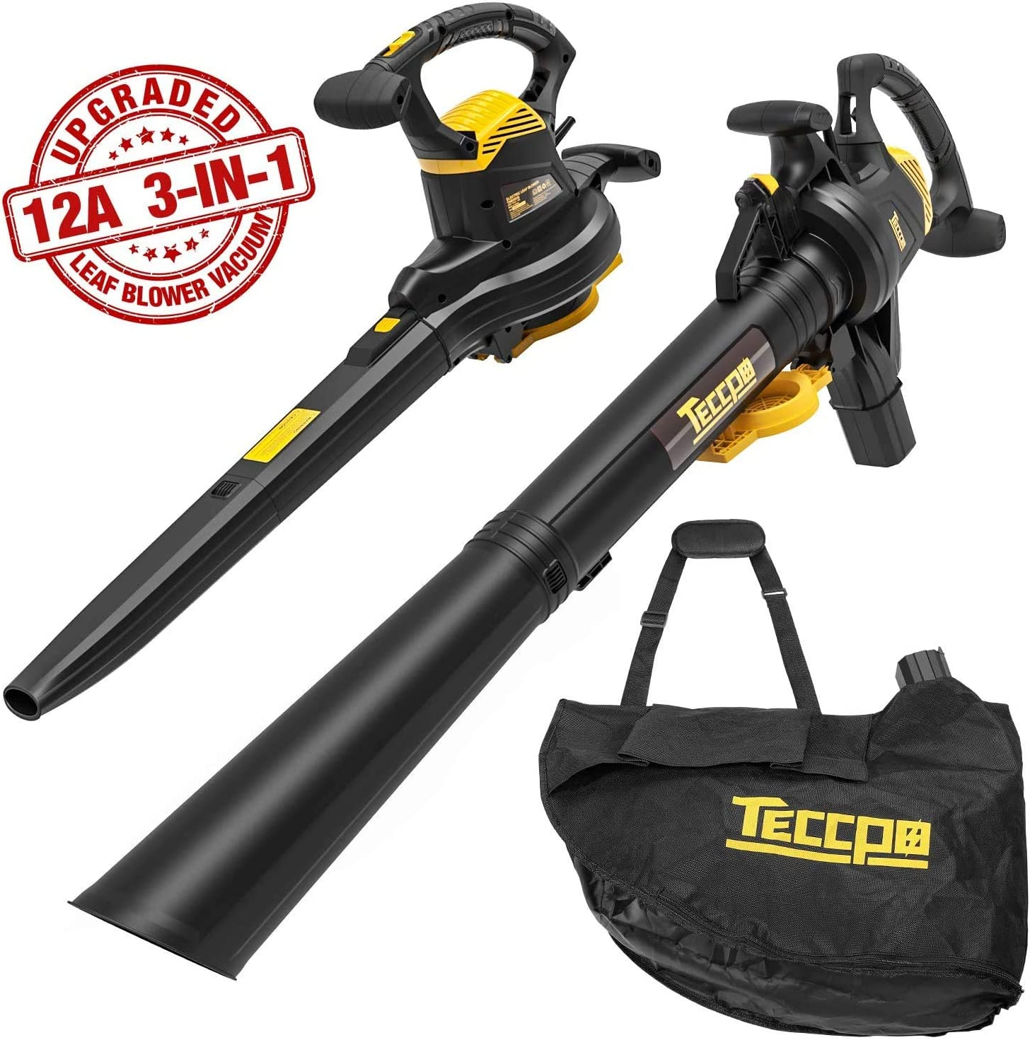 TP 3-in-1 Leaf Blower/Vacuum/Mulcher, 12 Amp Professional Leaf Vacuum, Variable Blow Speed of 170/250mph, Mulching Ration of 16:1, 280/410 CFM, Improved 40L Collection Bag - TABV01G