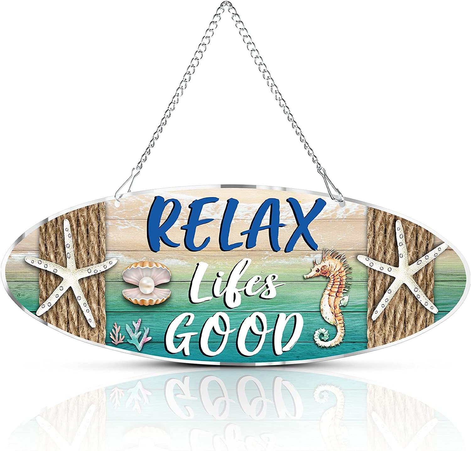Metal Hanging Vintage Design Beachcombers Beach Plaque Door Wall Plaque Decor Sign with Starfish, Sea Horse and Scallop for Decoration, 12 x 4 Inch