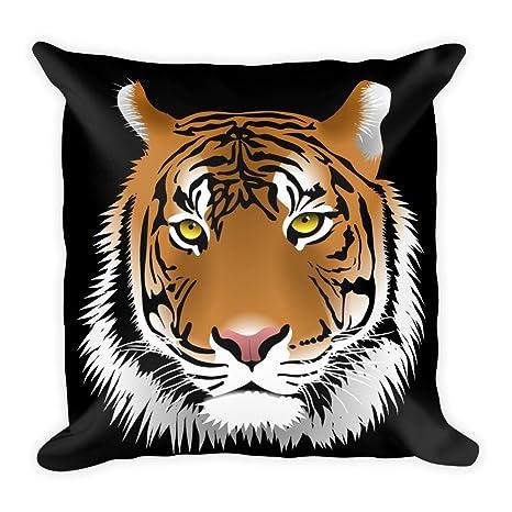 Tiger de cabeza sobre negro, grande, flauschiges Cojín 45 x ...