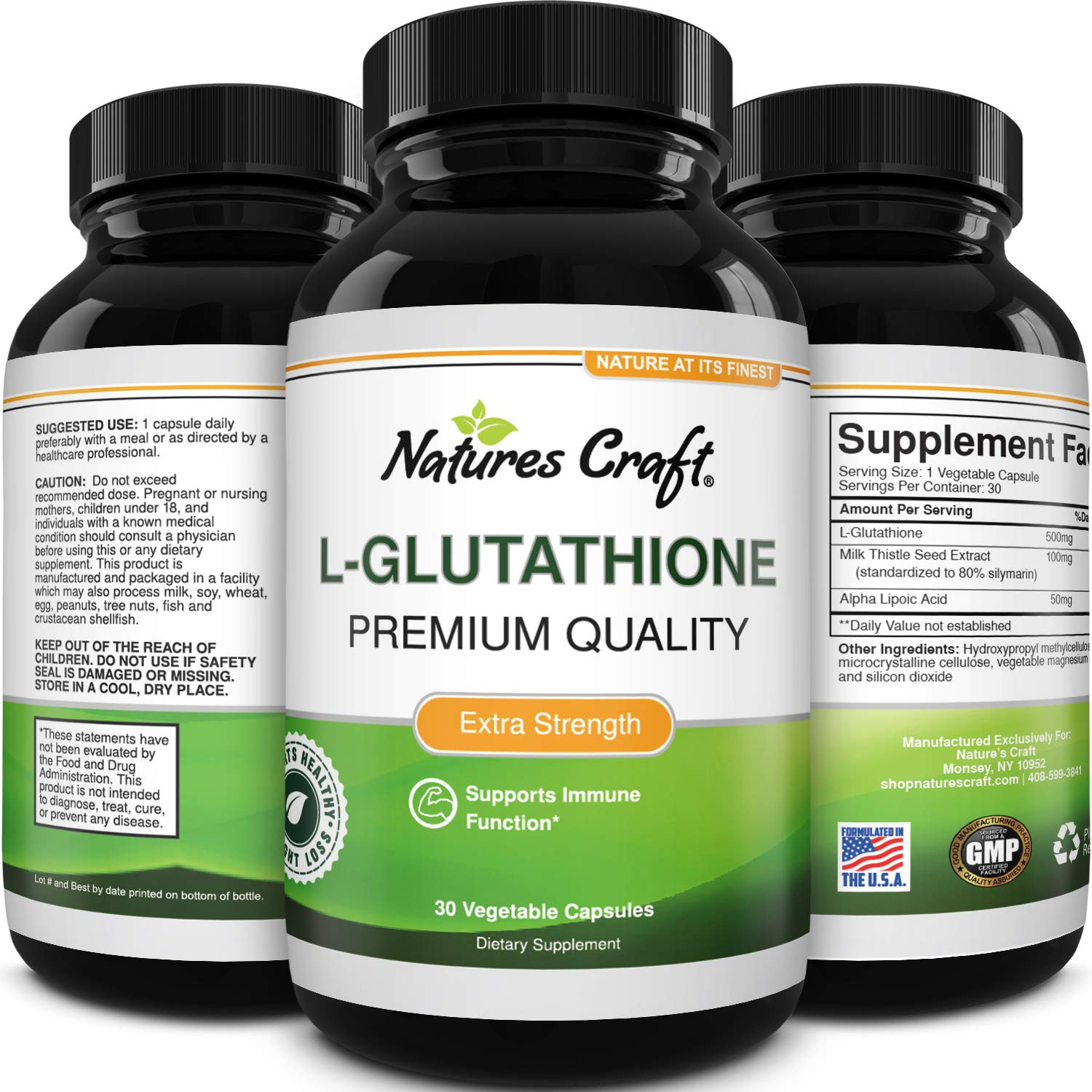 Pure Glutathione + Milk Thistle Extract Supplement - Potent Antioxidant for Immune System Support - Natural Skin Whitening Pills Give An Even Skin Complexion - 650 mg Serving by Natures Craft
