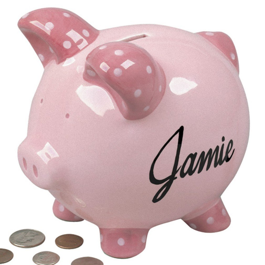 Personalized Piggy Banks - Pink or Blue - Customized with Your Child's Name - Great Baby Gift (Pink)