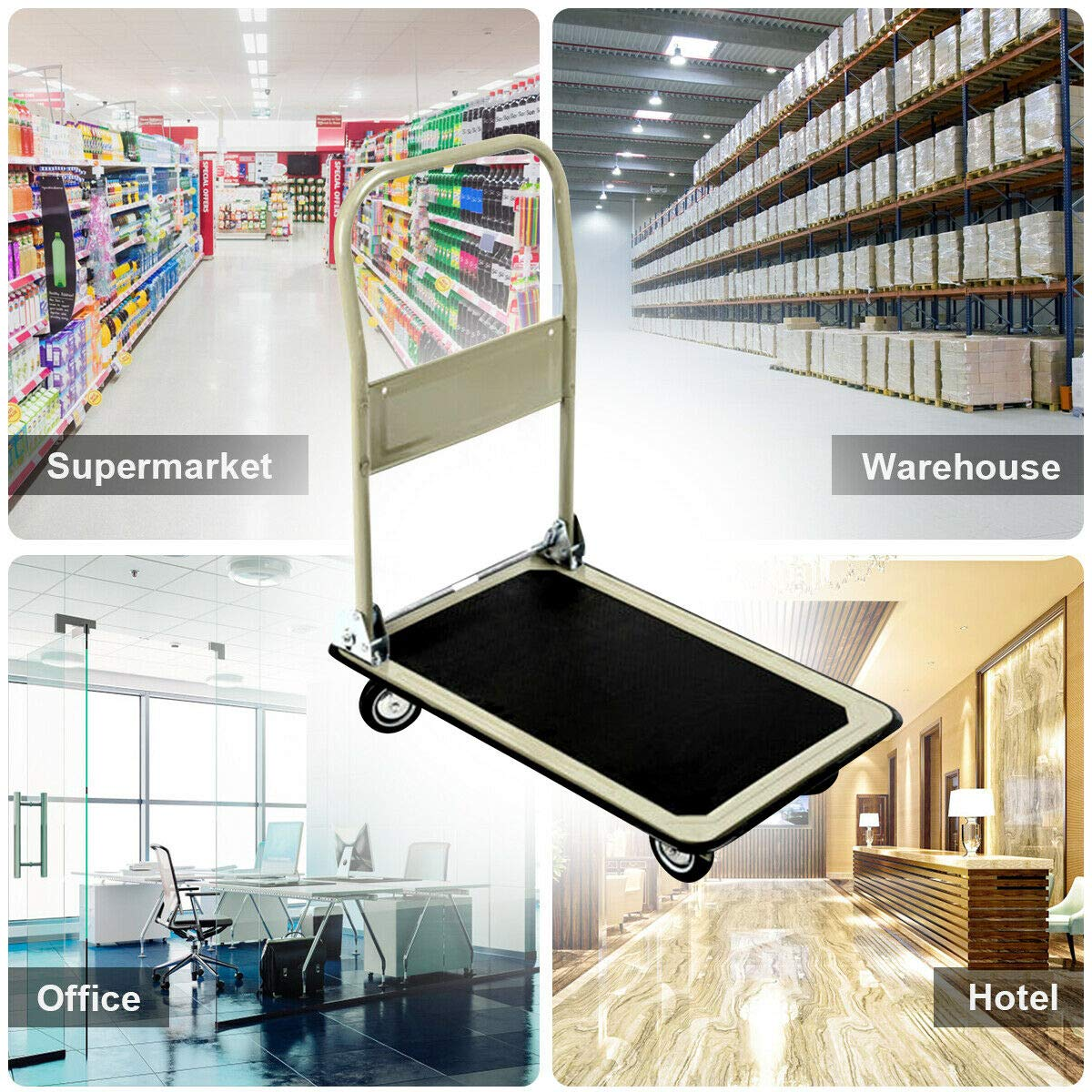 Gray 330lbs Platform Cart Folding Foldable Dolly Push Hand Truck Moving Warehouse Transport Heavy Large Loads(U.S. Stock) by Heize best price (Image #2)