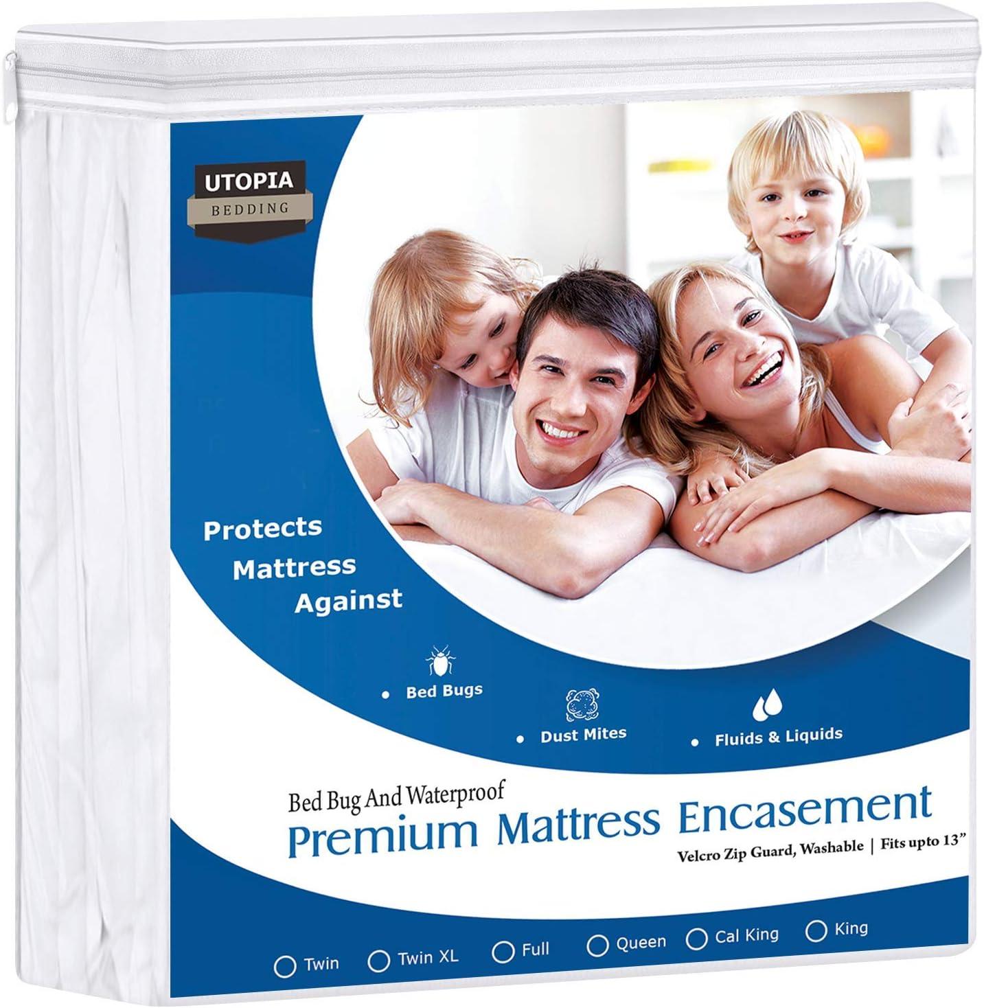 Utopia Bedding Zippered Mattress Encasement Waterproof Mattress Protector Full
