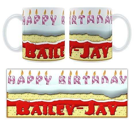 Feliz cumpleaños Bailey-JAY - tarta de cumpleaños personaliseitonline taza de cerámica